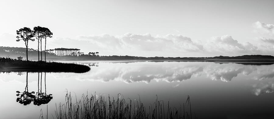Western Lake Misty Morning Panorama Black $ White by Kurt Lischka