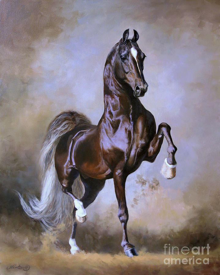 American Saddlebred Painting - Wgc Sir Silver Knight by Jeanne Newton Schoborg
