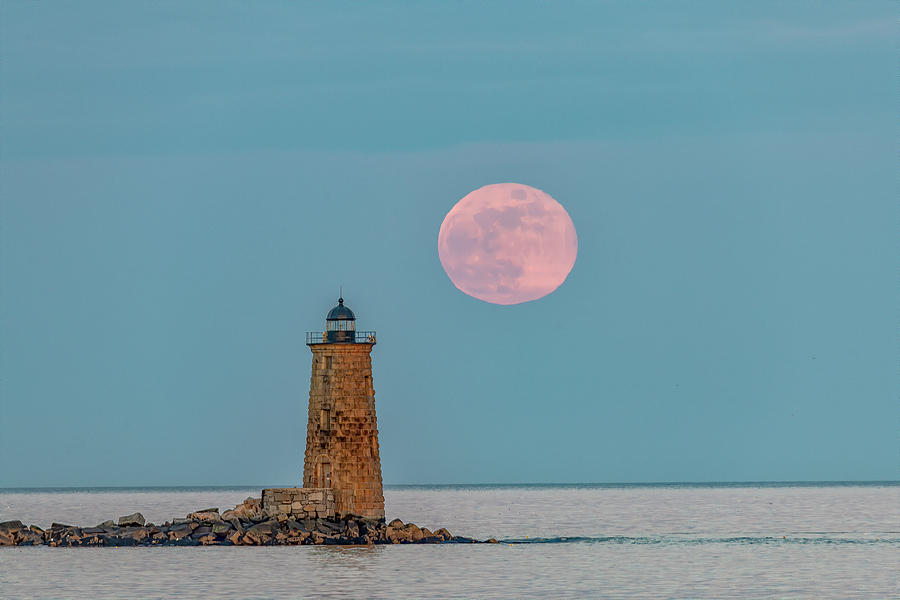 Moonrise Photograph - Whaleback Light by Bob Doucette