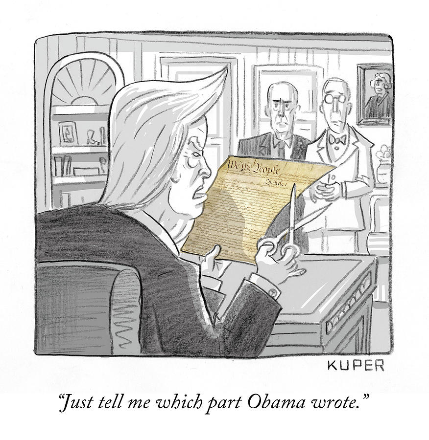 What Obama Wrote Drawing by Peter Kuper