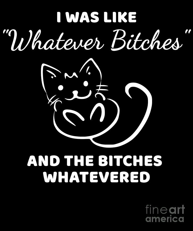Humor Digital Art - Whatever Bitches Cat by Beth Scannell