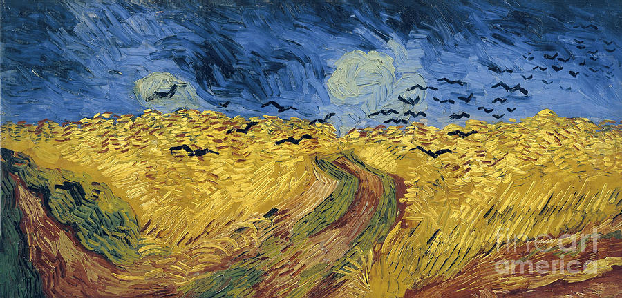 Wheatfield With Crows. Artist Gogh Drawing by Heritage Images