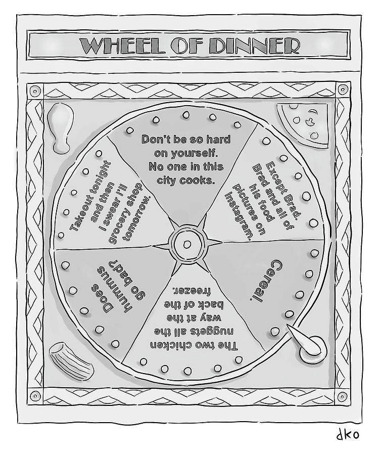 Wheel Of Dinner Drawing by David Ostow