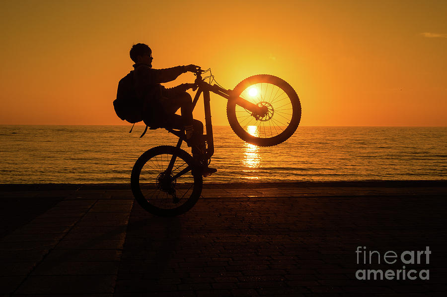 Boy Photograph - Wheelies At Sunset by Keith Morris