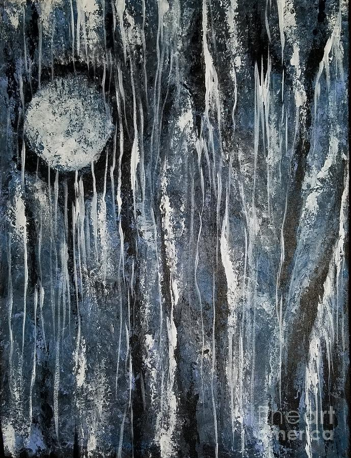Blue Painting - When Night Comes by Hilda Lechuga