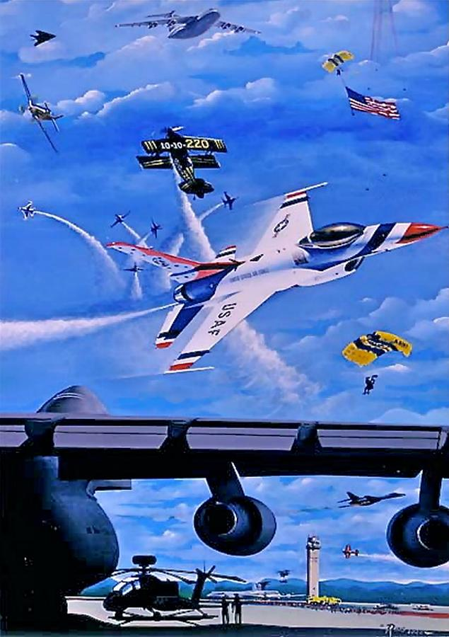 F-16 Painting - When Stars Gather by Peter Ring Sr