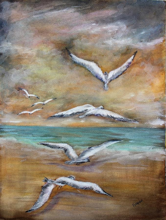 Seagulls Painting - When Summer Ends by Florence Ferrandino