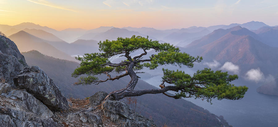 Mountains Photograph - When The Day Breaks by Jaeyoun Ryu