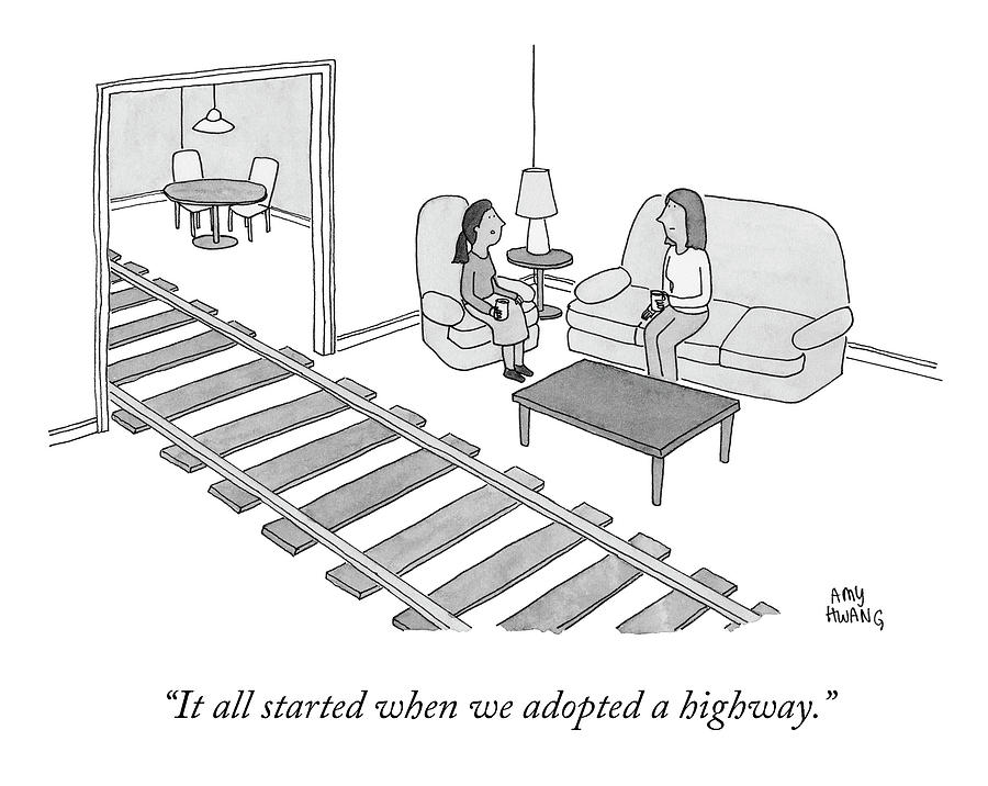 When We Adopted A Highway Drawing by Amy Hwang