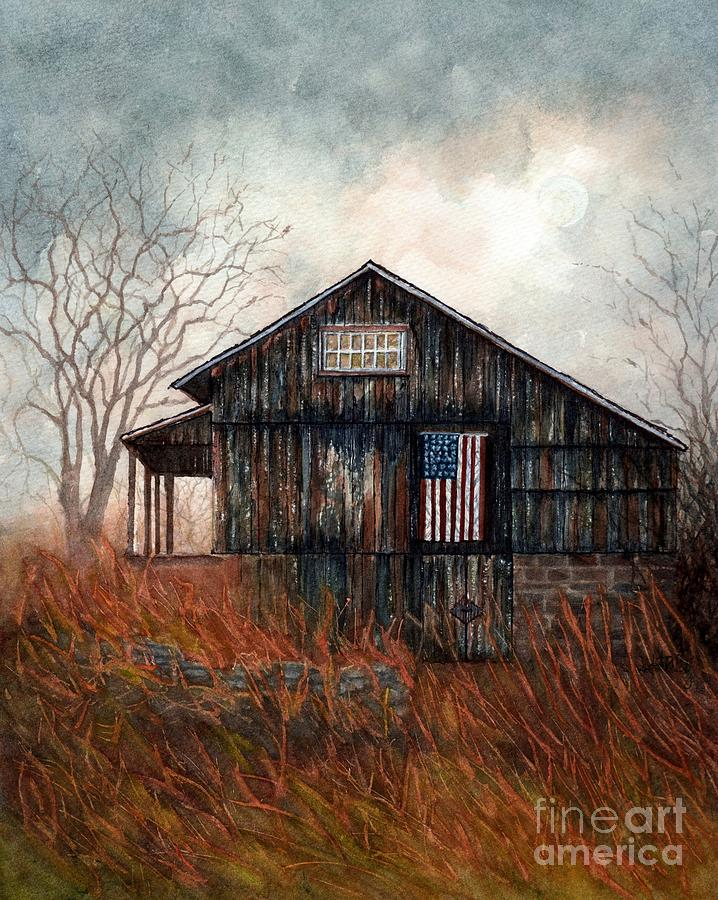 When you come Home - Autumn Barn Flag  by Janine Riley