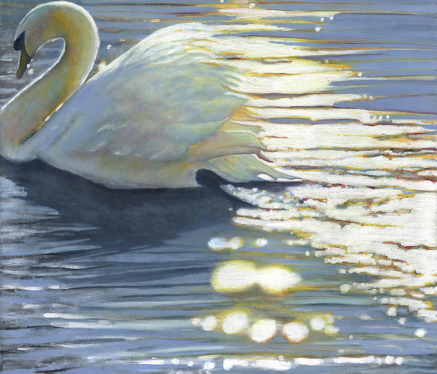 Swan Painting - Where Grace Has Been by Helen White