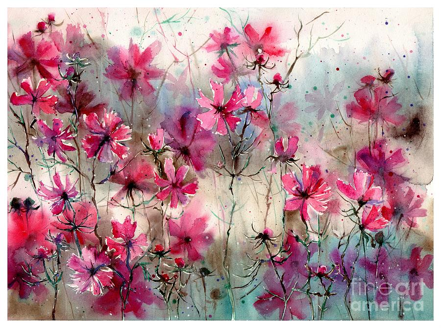 Watercolor Painting - Where Pink Flowers Grew by Suzann Sines