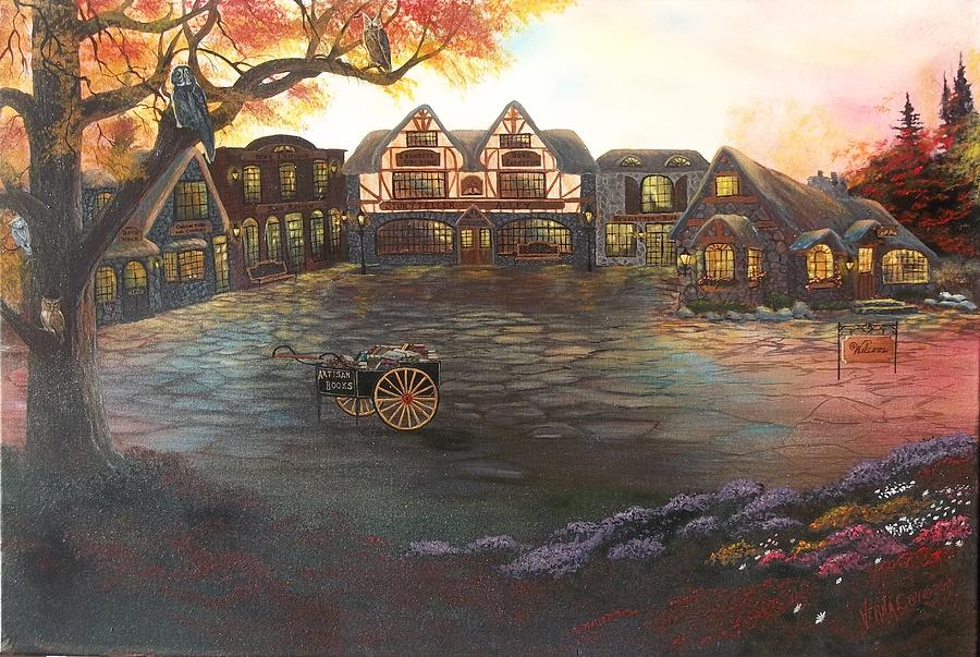 Village Scene Painting - Where Stories Are Told by Verna Coy