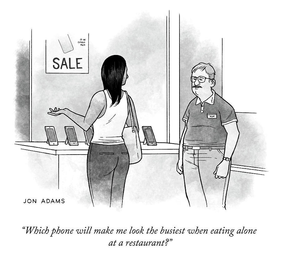 Which Phone Drawing by Jon Adams