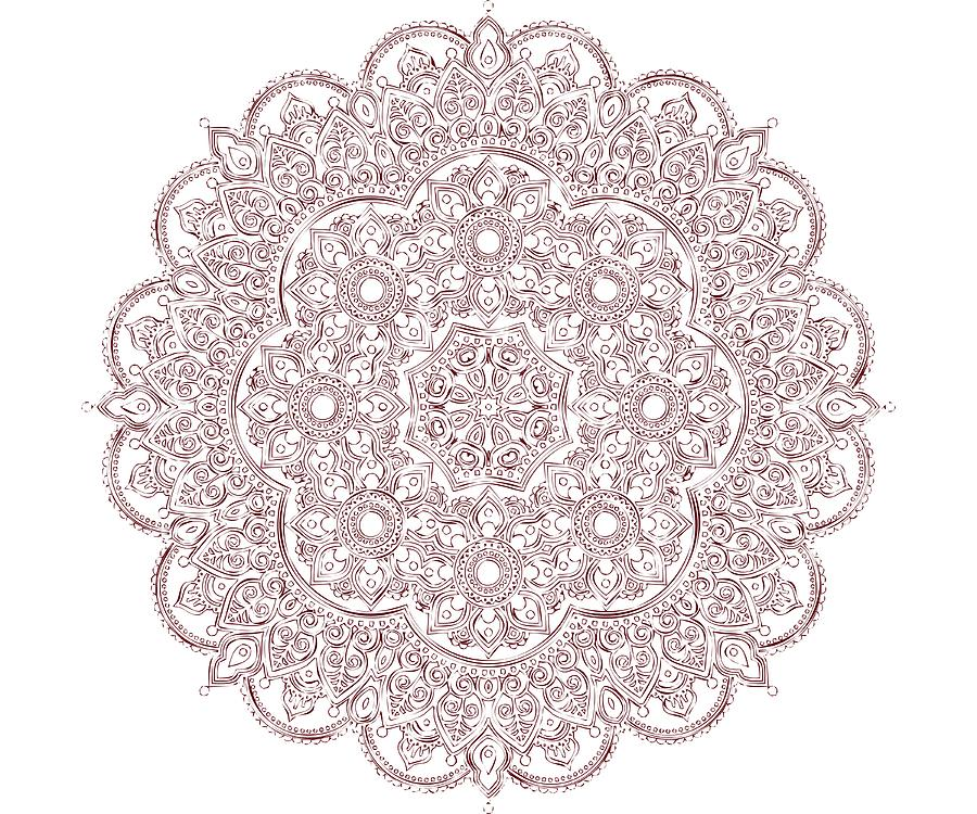 Whimsical Burgundy Mandala by Georgeta Blanaru