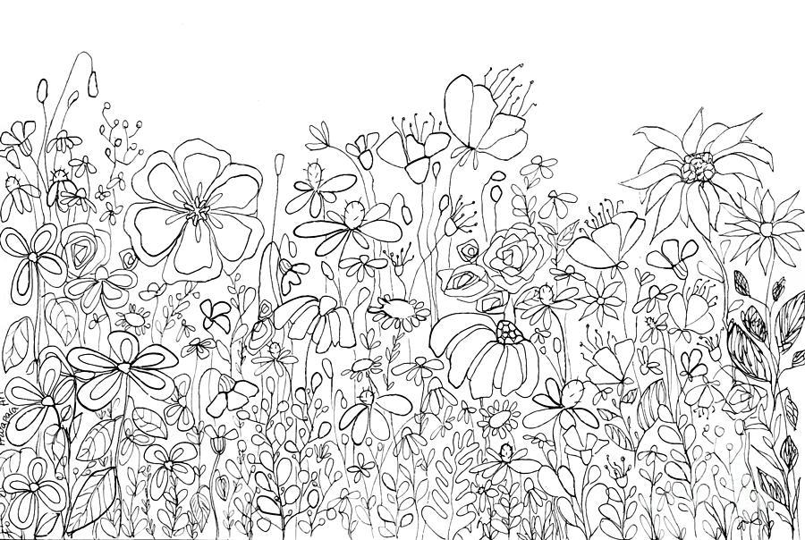 Whimsical Flower Garden, line art doodles by Patricia Awapara