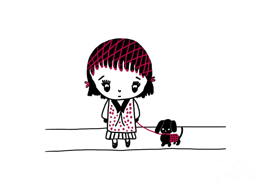 Whimsy Girl and Dog in Black and Red by Barefoot Bodeez Art