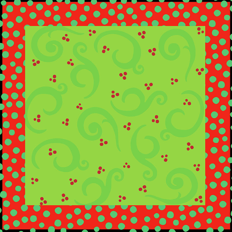 Christmas Digital Art - Whimsy Scrolling Deco Xmas by Ali Lynne