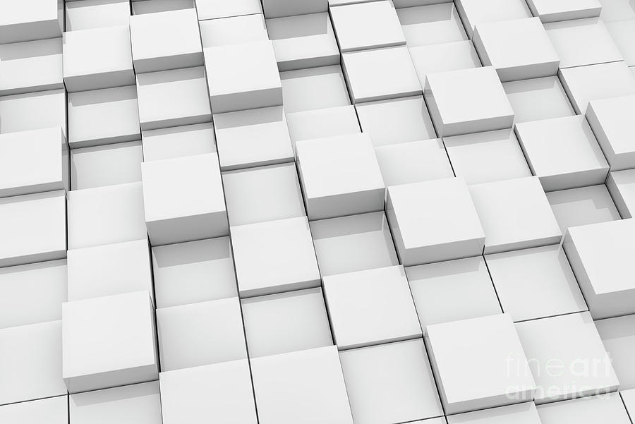 3d Photograph - White Abstract Cubes Surface by Jesper Klausen/science Photo Library