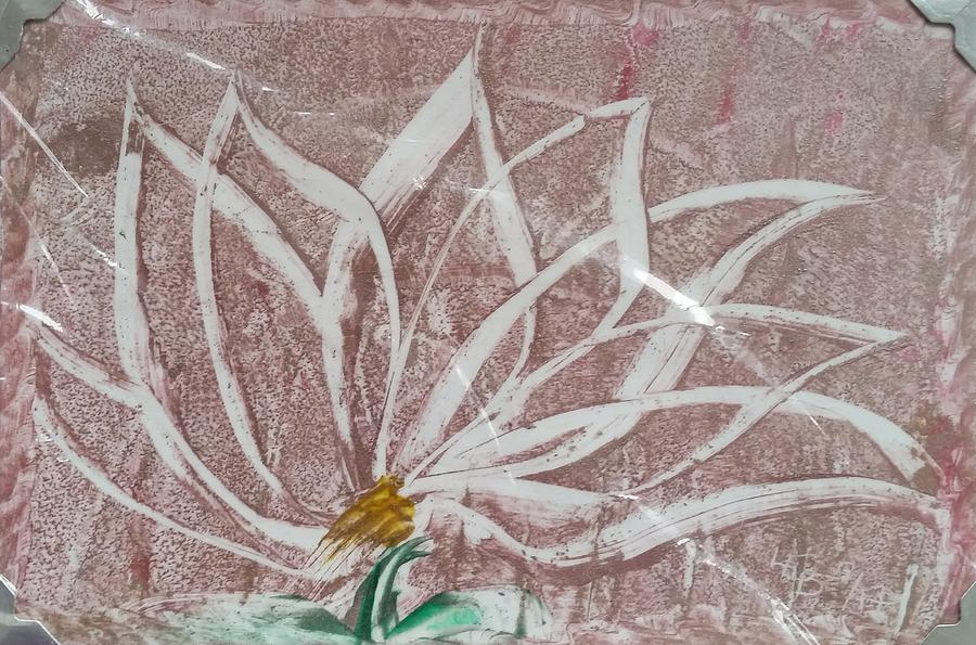 White abstract floral on silverpastel pink by Lorraine Bradford