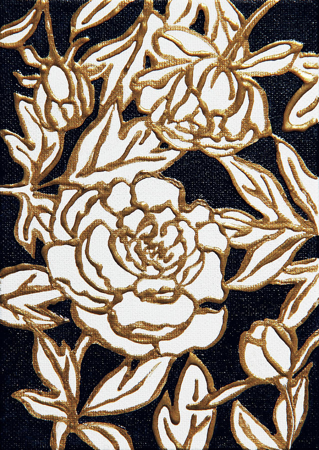 White and Gold Flowers by Masha Batkova