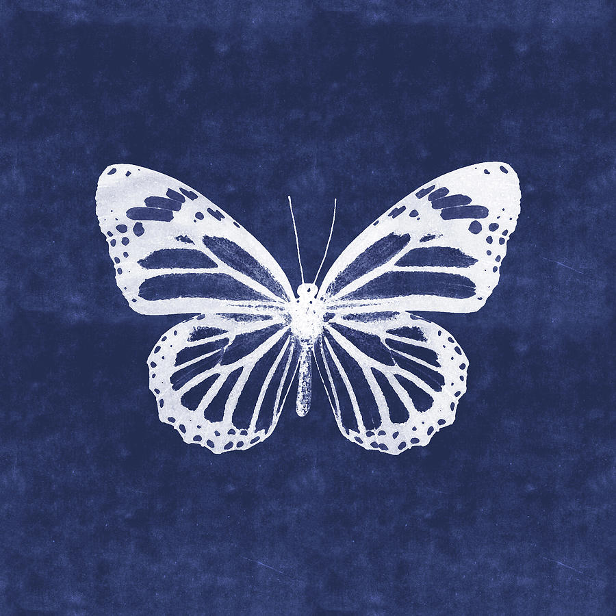 Butterfly Mixed Media - White And Indigo Butterfly 3- Art By Linda Woods by Linda Woods
