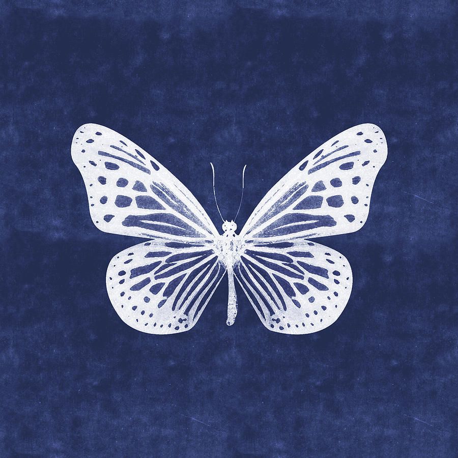 Butterfly Mixed Media - White and Indigo Butterfly- Art by Linda Woods by Linda Woods
