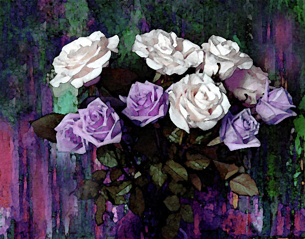White and Lavender Rose Bouquet by Corinne Carroll