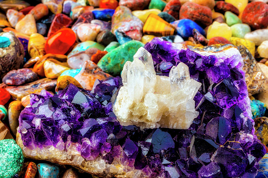 Quartz Photograph - White And Purple Quartz by Garry Gay