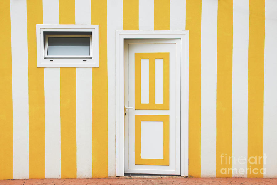 White And Yellow Door Over A Striped Photograph by Saulgranda