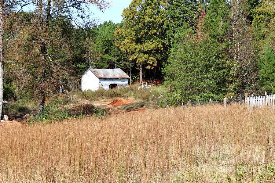 White Barn Brown Grass by Robert M Seel
