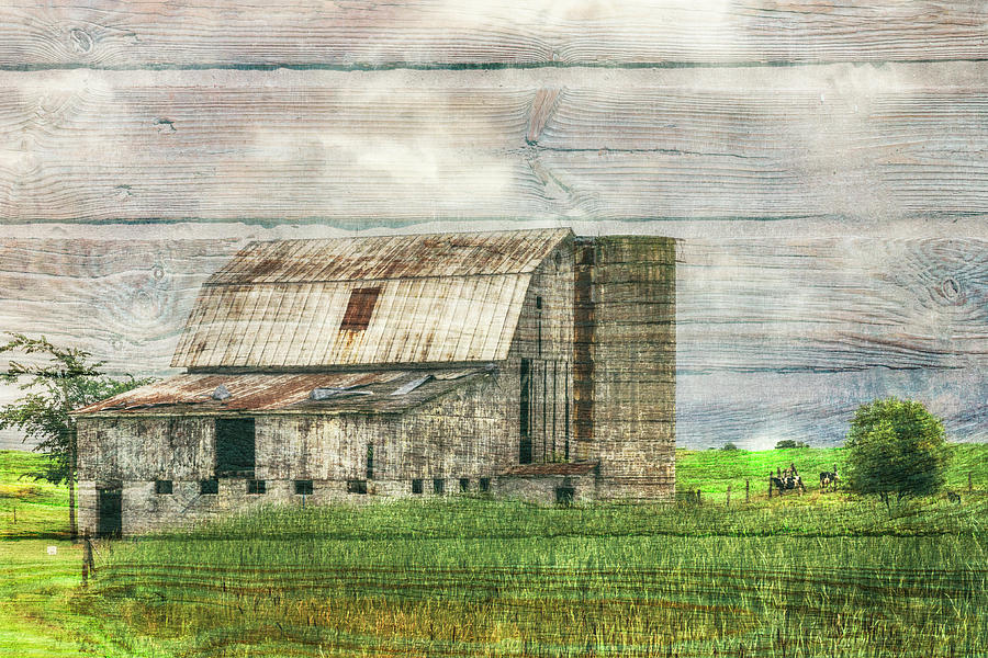 Barn Photograph - White Barn In The Country On Wood Textures by Debra and Dave Vanderlaan