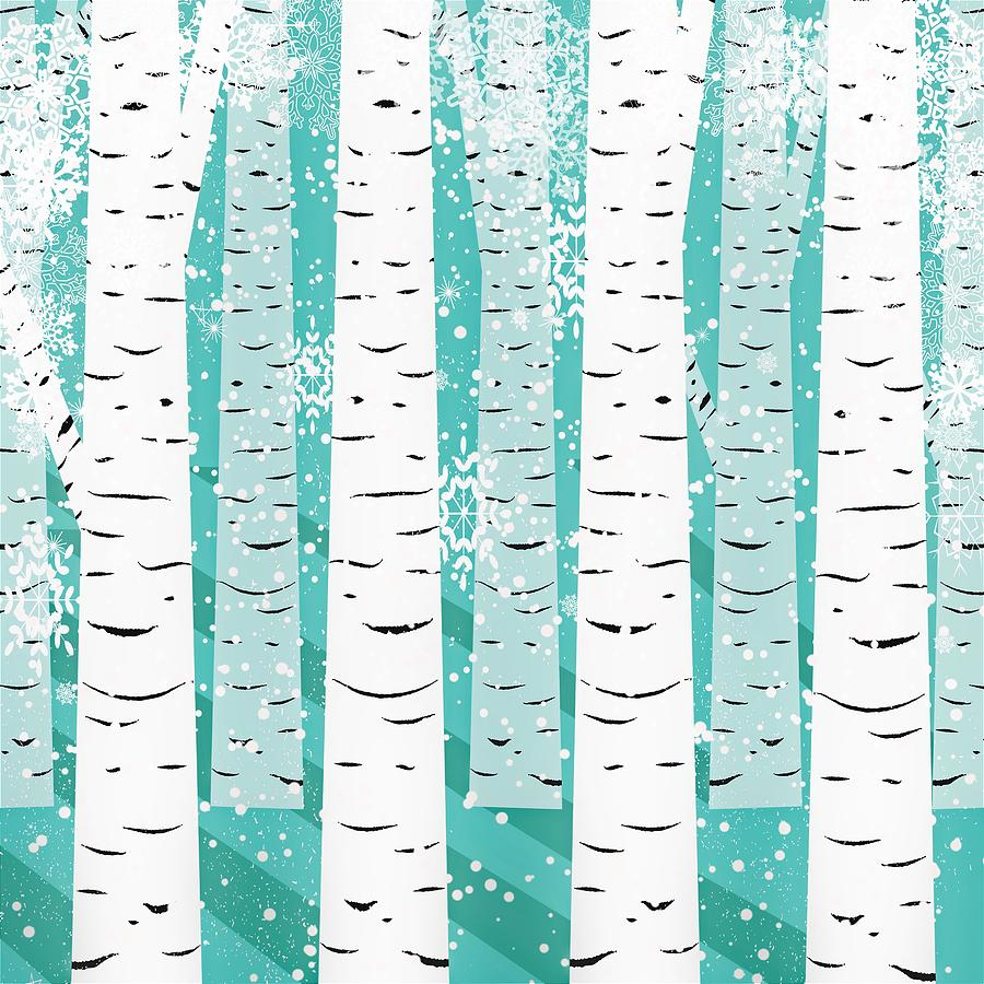 White Birch Digital Art - White Birch And Snow by ArtMarketJapan