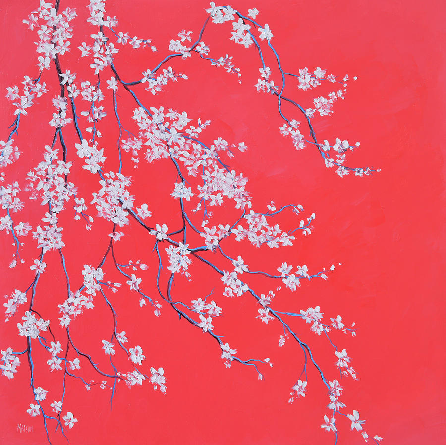 White Blossom on Scarlet by Jan Matson