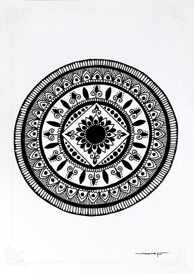White Border with Mini Mandala 1 by Kreativ Corner