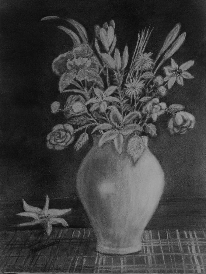 Flowers Drawing - White Bouquet by Lisa MacDonald