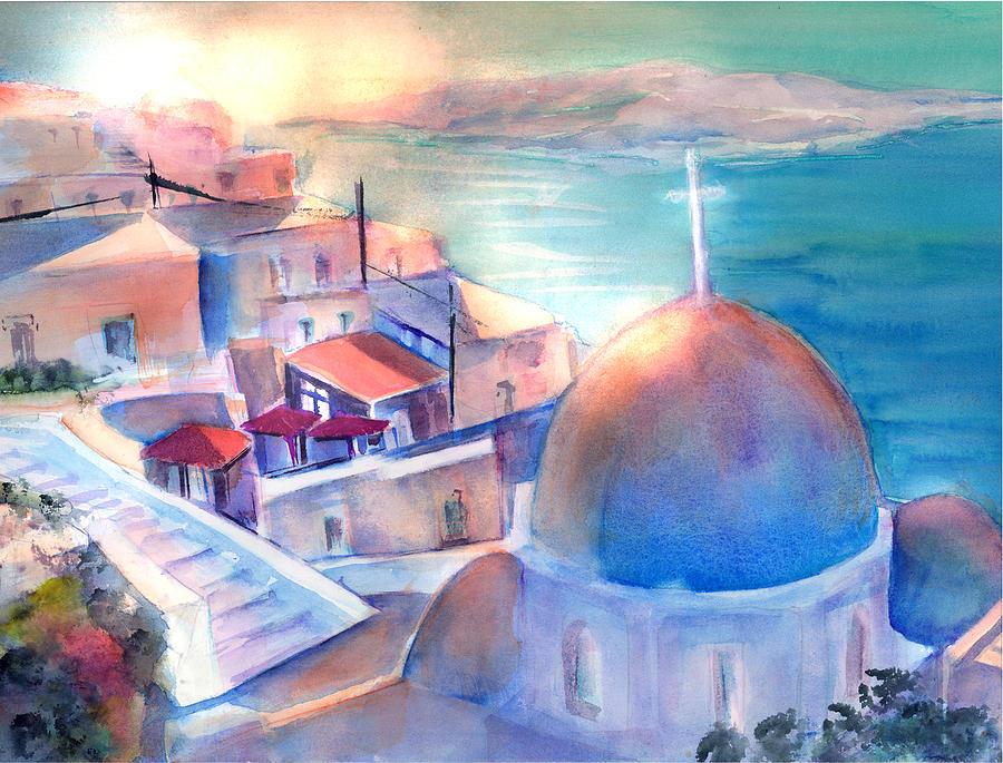 White Church Santorini Greece by Sabina Von Arx