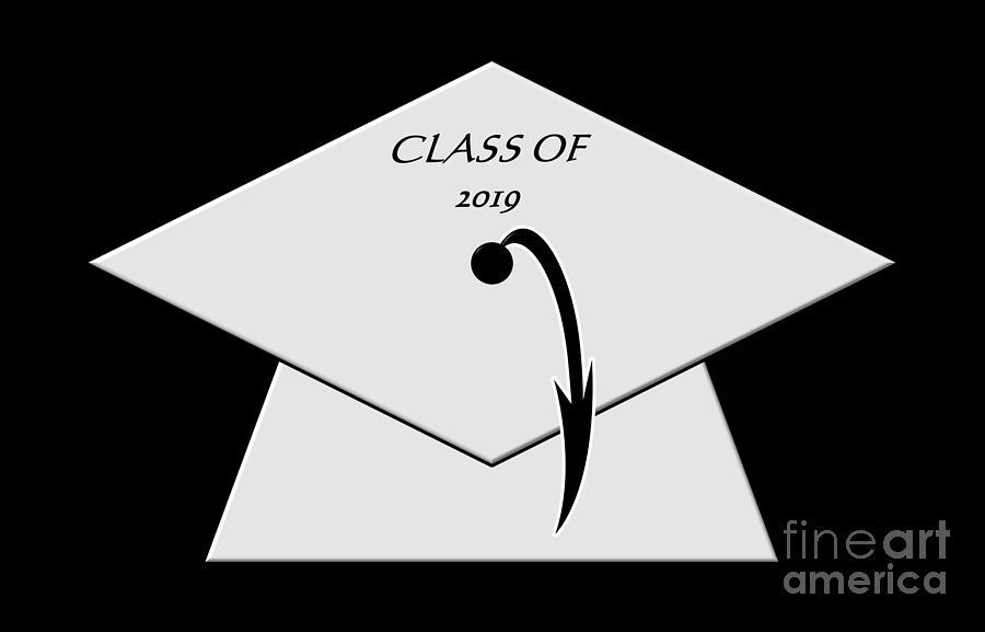 White Class of 2019 Graduation Cap by Rose Santuci-Sofranko
