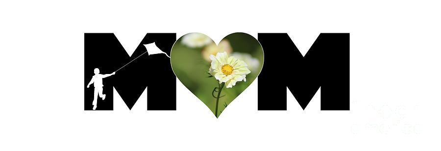 White Cosmos in Heart with Little Boy MOM Big Letter by Colleen Cornelius