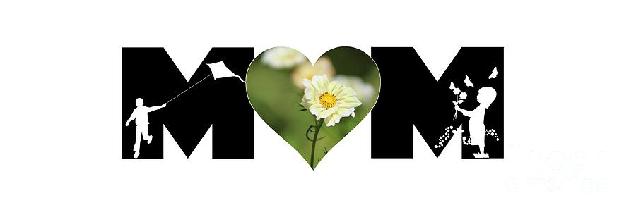 White Cosmos in Heart with Little Girl and Boy MOM Big Letter by Colleen Cornelius