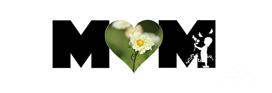 White Cosmos in Heart with Little Girl MOM Big Letter by Colleen Cornelius