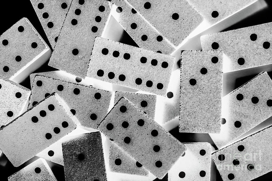 Game Photograph - White Dots Black Chips by Jorgo Photography - Wall Art Gallery