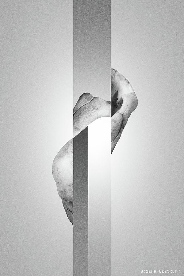 White Endobrume - Surreal Abstract Elephant Bone Collage With Rectangles by Joseph Westrupp