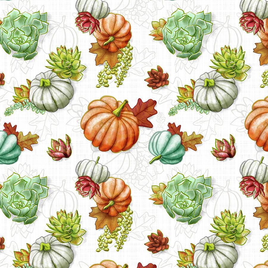 White Fall Pumpkin Succulent Pattern by Jen Montgomery by Jen Montgomery