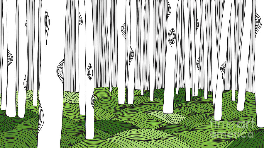 Forest Digital Art - White Forest And Green Meadow, Line Art by Momojung