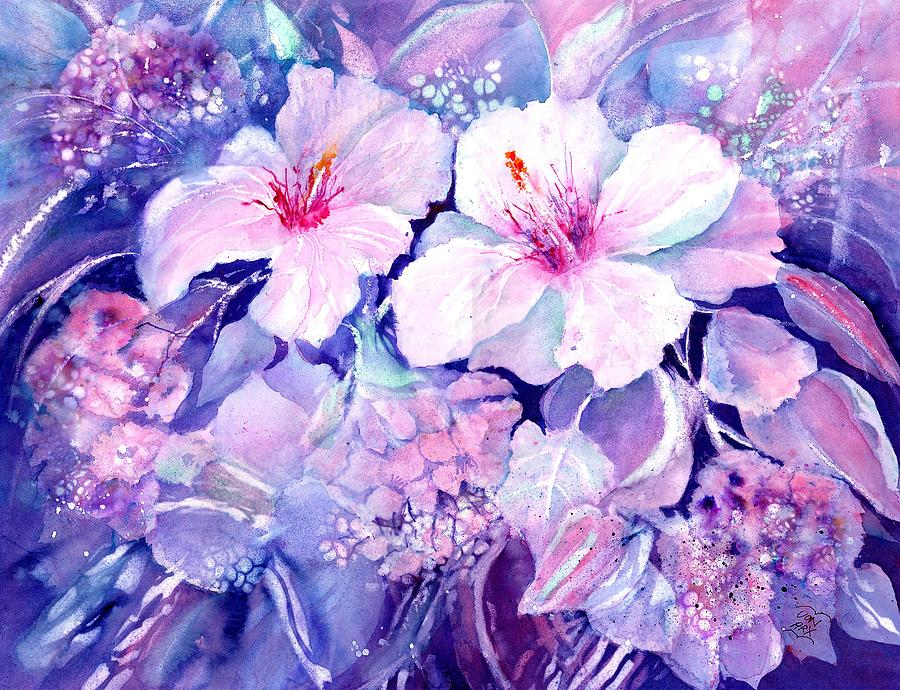 White Hibiscus and Hydrangeas by Sabina Von Arx