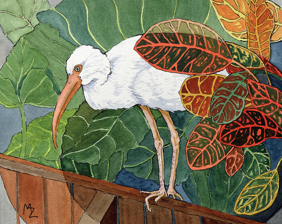 White Ibis amid the Crotons by Margaret Zabor