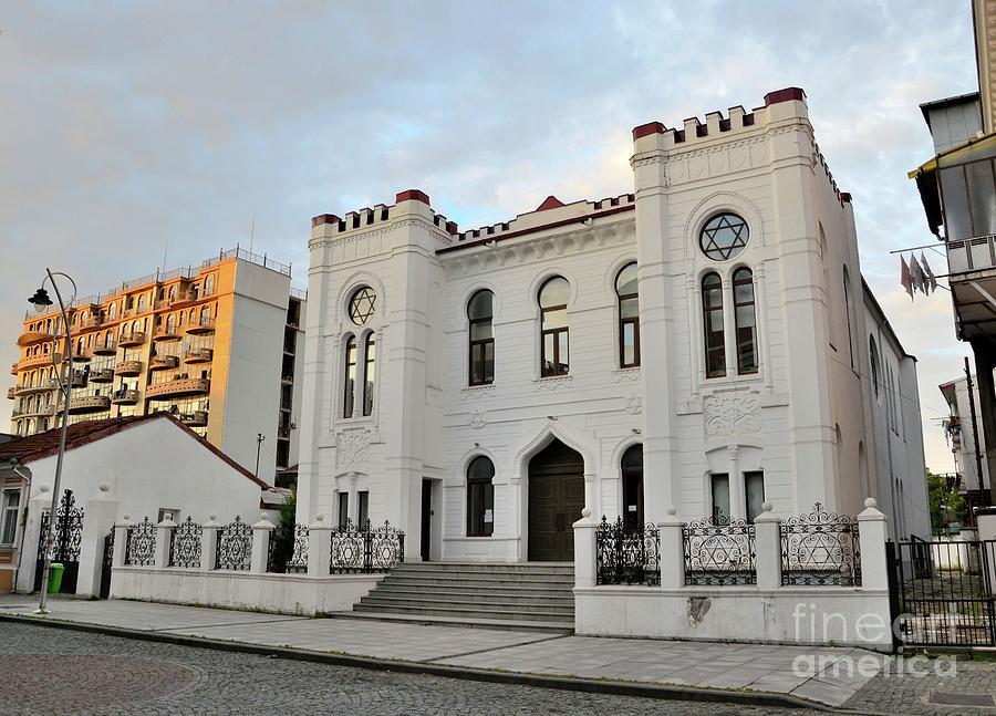 White Jewish synagogue building with Star of David Batumi Georgia by Imran Ahmed