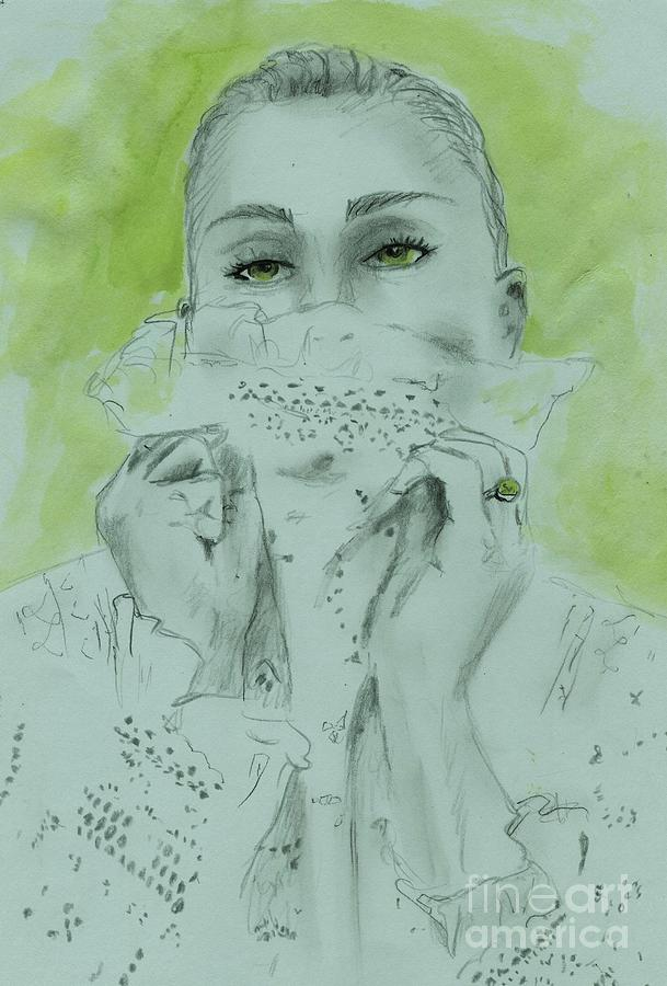 Lace Drawing - White Lace And Green Eyes by PJ Lewis