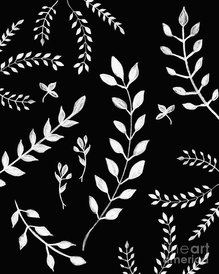 White Leaves Pattern 3 Drawing Decor Art Painting By Anitas And Bellas Art